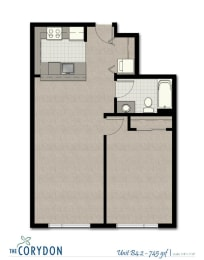 One Bedroom B4 2 FloorPlan at The Corydon, Seattle, opens a dialog