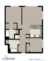 Two Bedroom C1 FloorPlan at The Corydon, Seattle, 98105, opens a dialog