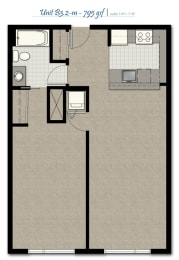 One Bedroom B3 2 M FloorPlan at The Corydon, Seattle, WA, opens a dialog