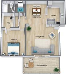 Floor Plan 1 Bedroom 1 Bathroom, opens a dialog