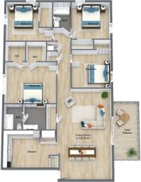 Floor Plan 4 Bedroom 2 Bathroom, opens a dialog