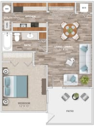Floor Plan One Bedroom Patio, opens a dialog