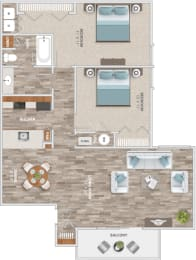 Floor Plan Two Bedroom Balcony, opens a dialog