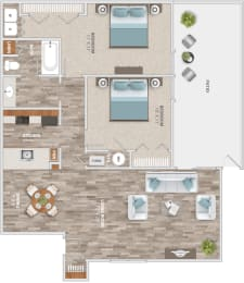 Floor Plan Two Bedroom Patio, opens a dialog