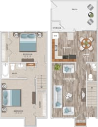 Floor Plan Two Bedroom Townhome, opens a dialog