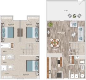Floor Plan Three Bedroom Townhome, opens a dialog