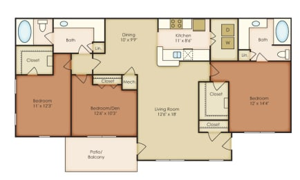 Clairmont 3 Bedroom 2 Bath Floorplan at Crestmark Apartment Homes, Lithia Springs, GA