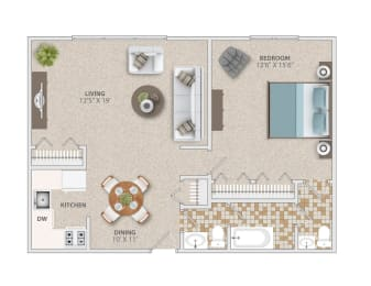One bedroom one and a half bath apartment home at Broadfalls, opens a dialog