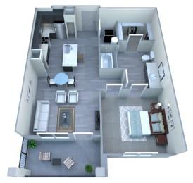 1 bedroom 1 bathroom floor plan McClintock Station in Tempe, AZ, opens a dialog