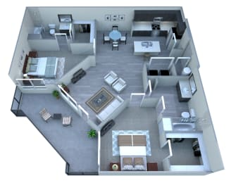 2 bedroom 2 bathroom floor plan at Tempo At McClintock Station in Tempe, AZ, opens a dialog