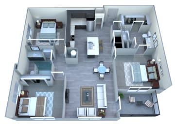 3 bedroom 2 bathroom floor plan at Tempo At McClintock Station in Tempe, AZ, opens a dialog