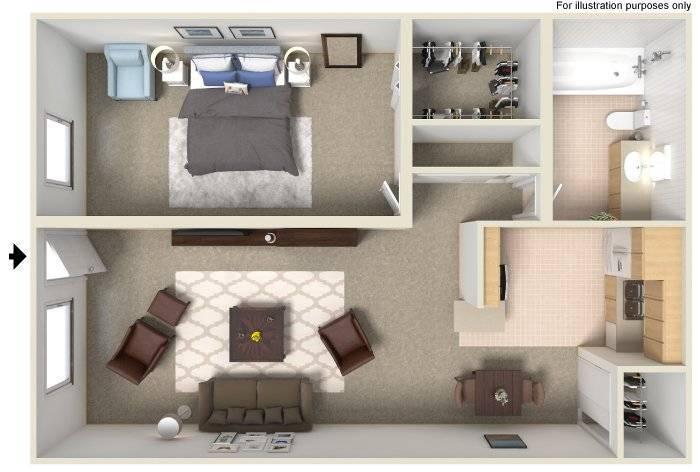 Floor Plan  1x1 625 Sq Ft, opens a dialog.