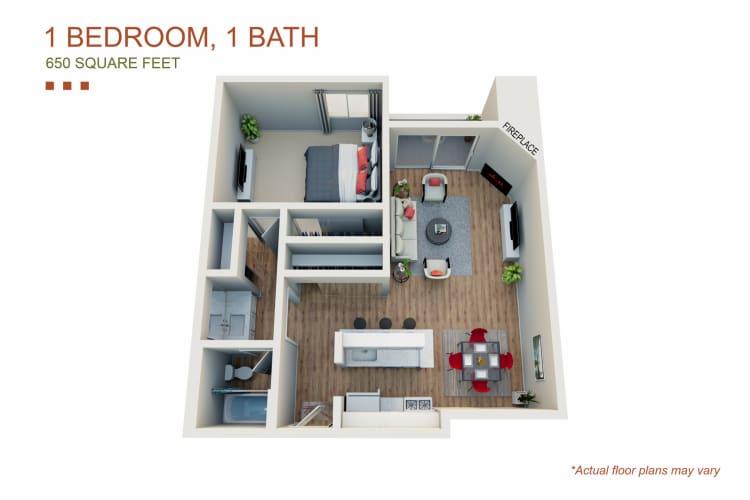 Floor Plan  1 Bed 1 Bath, opens a dialog.