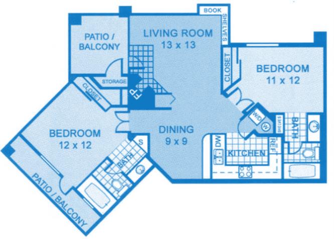 Floor Plan  B2 | Two Bedroom, opens a dialog.