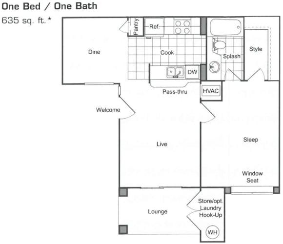 Floor Plan  One Bed One Bath Floorplan, opens a dialog.