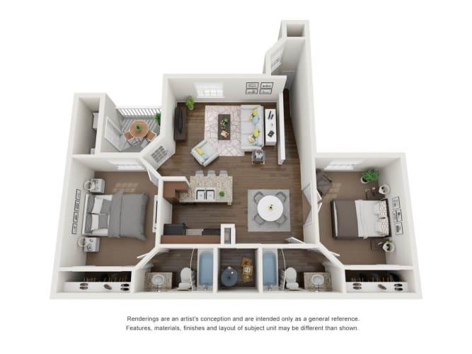 Floor Plan  2 Bed 2 Bath 3D Floor Plan A