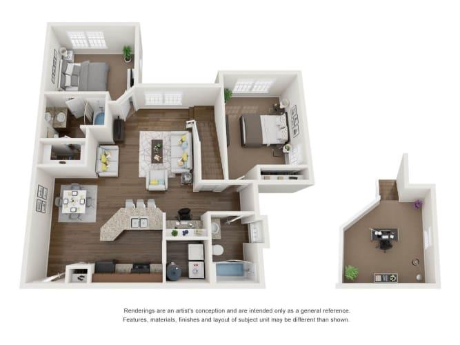 Floor Plan  2 Bed 2 Bath 2 Floors 3D Floor Plan B