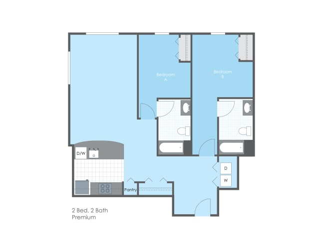 Floor Plan  2 Bed 2 Bath, Premium, opens a dialog.