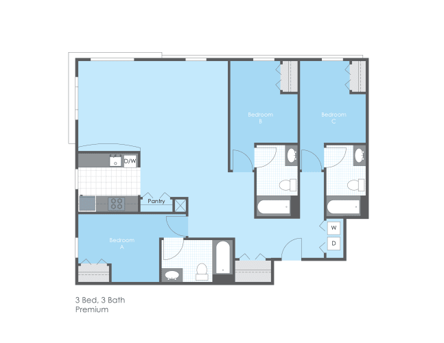 Floor Plan  3 Bed 3 Bath, Premium, opens a dialog.