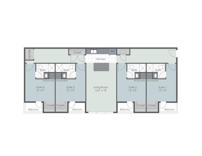 Floor Plan  Phase II, 4 bedroom floor plan layout, opens a dialog.