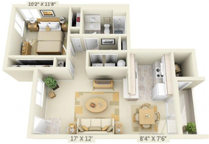 Floor Plan  Clackamas Trails Apartments 1x1 Floor Plan 699 Square Feet, opens a dialog.