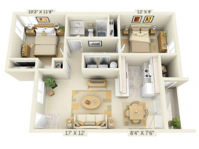 Floor Plan  Clackamas Trails Apartments 2x1 Floor Plan 821 Square Feet, opens a dialog.