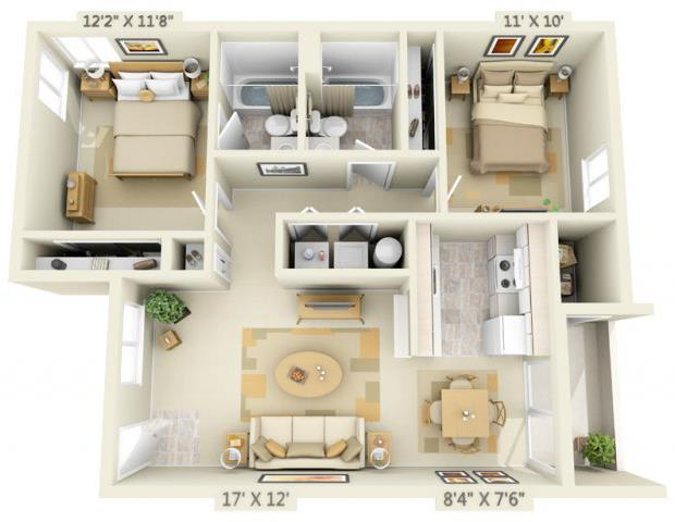Floor Plan  Clackamas Trails Apartments 2x2 Floor Plan 893 Square Feet, opens a dialog.
