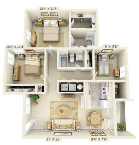 Floor Plan  Clackamas Trails Apartments 3x2 Floor Plan 1085 Square Feet, opens a dialog.