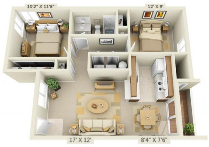 Floor Plan  Martinazzi Village Apartments 2x1 Floor Plan 803 Square Feet, opens a dialog.
