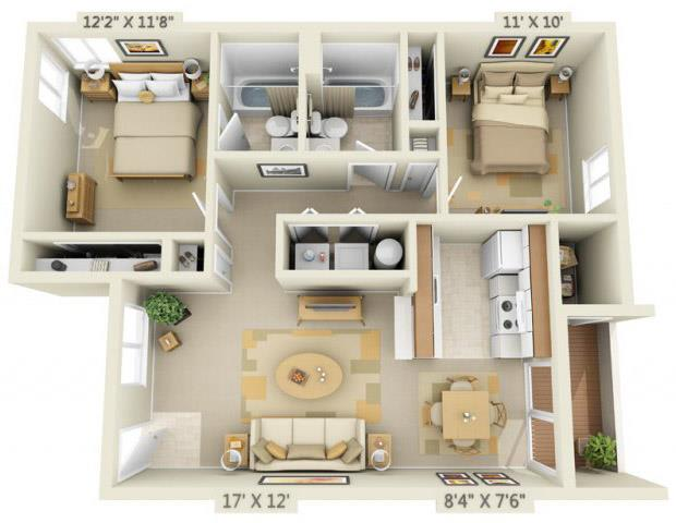 Floor Plan  Martinazzi Village Apartments 2x2 Floor Plan 875 Square Feet, opens a dialog.