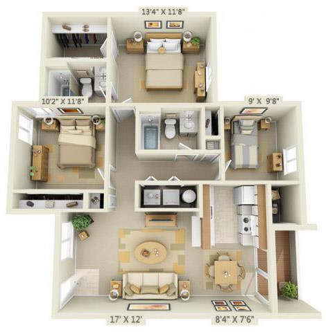 Floor Plan  Martinazzi Village Apartments 3x2 Floor Plan 1067 Square Feet, opens a dialog.