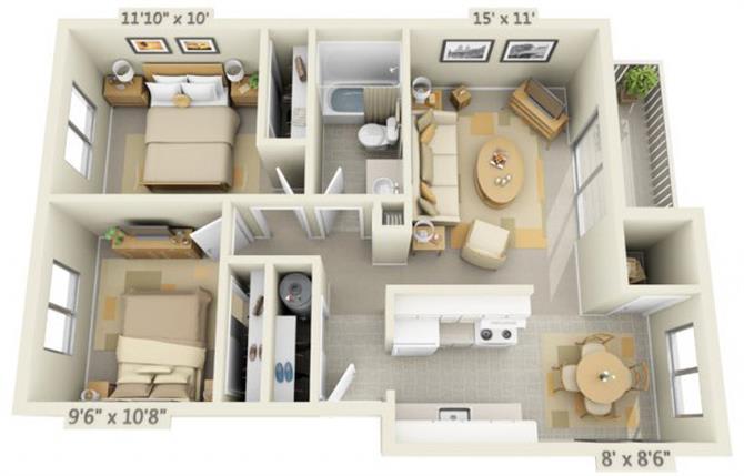 Floor Plan  Rolling Hills Apartments 2x1 Floor Plan 750 Square Feet, opens a dialog.