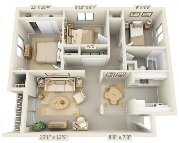 Floor Plan  Rolling Hills Apartments 3x1 Floor Plan 943 Square Feet, opens a dialog.
