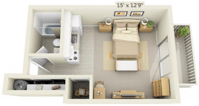 Floor Plan  Rolling Hills Apartments Studio 0x1 Floor Plan 378 Square Feet, opens a dialog.