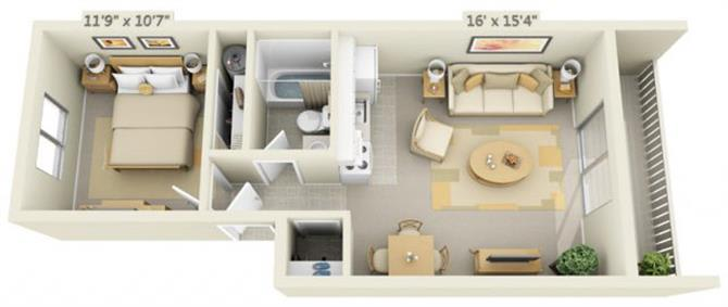 Floor Plan  Rolling Hills Apartments Super Studio 0x1 Floor Plan 520 Square Feet, opens a dialog.
