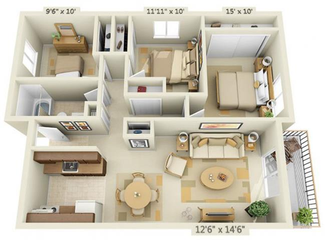 Floor Plan  Todd Village Apartments 3 Sisters Mountain 3x1 Floor Plan 982 Square Feet, opens a dialog.