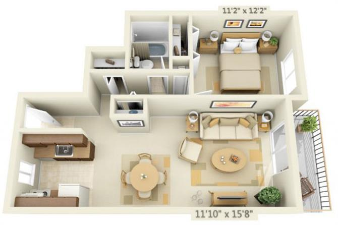 Floor Plan  Todd Village Apartments Mt. Adams 1x1 Floor Plan 673 Square Feet, opens a dialog.