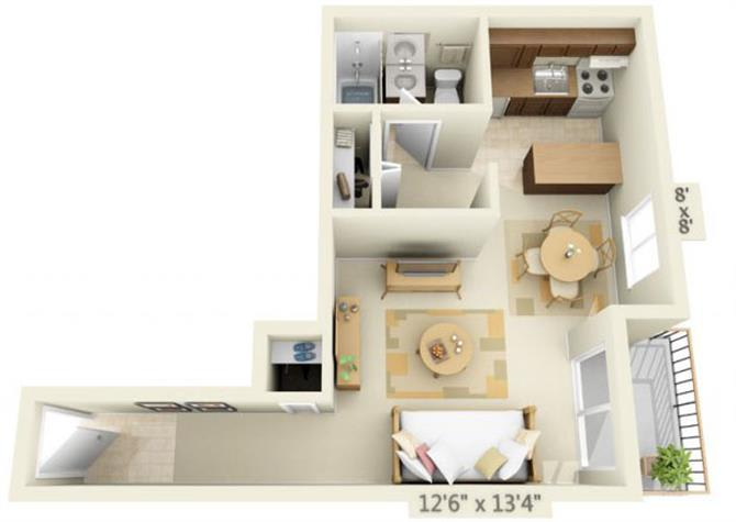 Floor Plan  Todd Village Apartments Mt. Bachelor Studio 0x1 Floor Plan 426 Square Feet, opens a dialog.