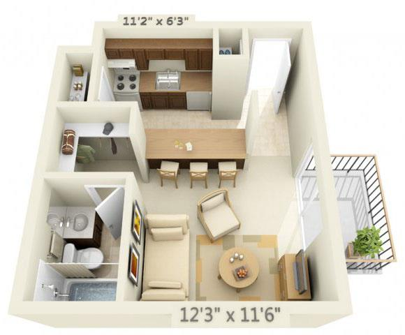 Floor Plan  Todd Village Apartments Mt. Baker Studio 0x1 Floor Plan 350 Square Feet, opens a dialog.