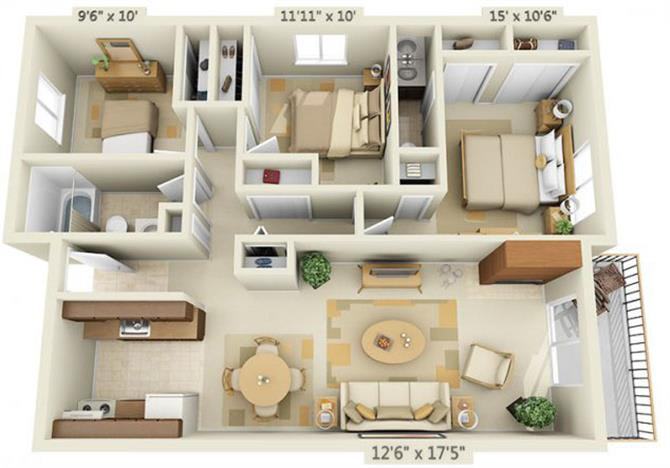Floor Plan  Todd Village Apartments Mt. Hood 3x1.5 Floor Plan 1082 Square Feet, opens a dialog.