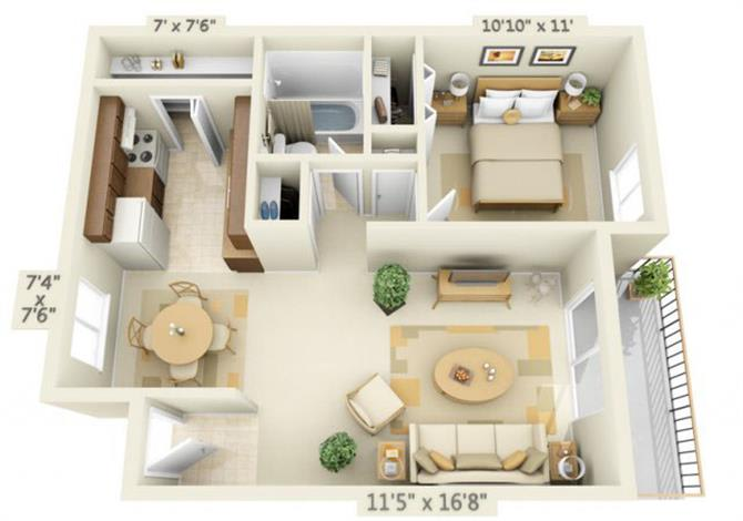 Floor Plan  Todd Village Apartments Mt. Rainier 1x1 Floor Plan 592 Square Feet, opens a dialog.