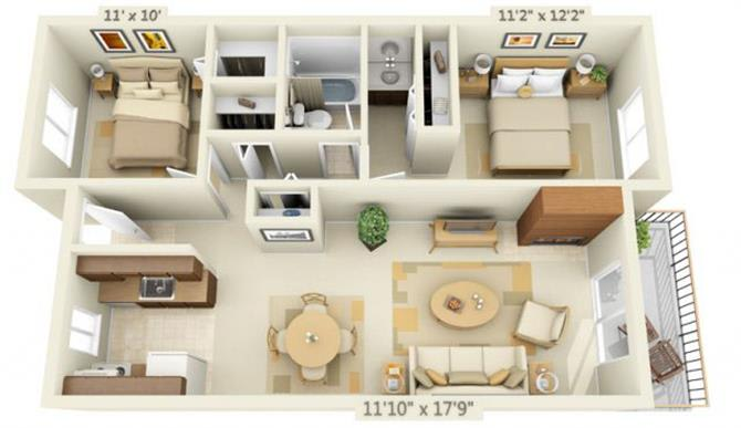 Floor Plan  Todd Village Apartments Mt. Shasta 2x1.3 Floor Plan 886 Square Feet, opens a dialog.