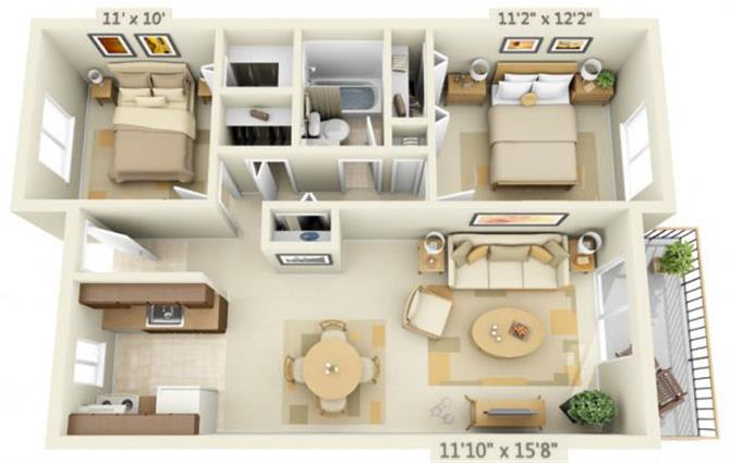 Floor Plan  Todd Village Apartments Mt. St. Helens 2x1 Floor Plan 803 Square Feet, opens a dialog.