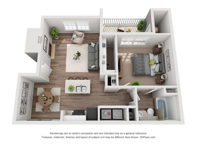Floor Plan  Windsor Falls - One Bedroom Apartment - Raleigh NC