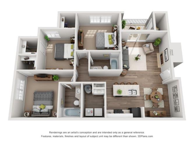 Floor Plan  Windsor Falls - Three Bedroom Apartment - Raleigh NC