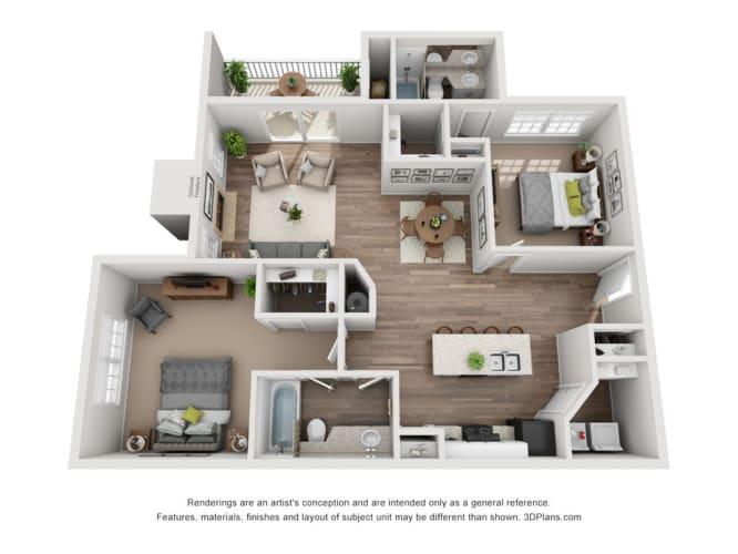Floor Plan  Windsor Falls - Two Bedroom Apartment - Raleigh NC