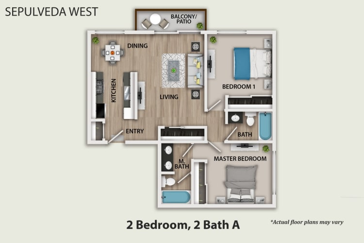 Floor Plan  Two Bedroom, Two Bath