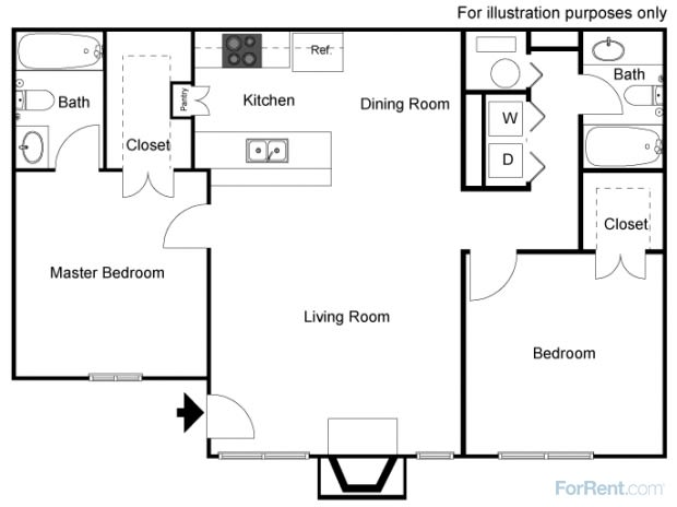 Floor Plan  Lodi Ca l Lakeshore Meadows and Garden | Apartments | Floorplan, opens a dialog.
