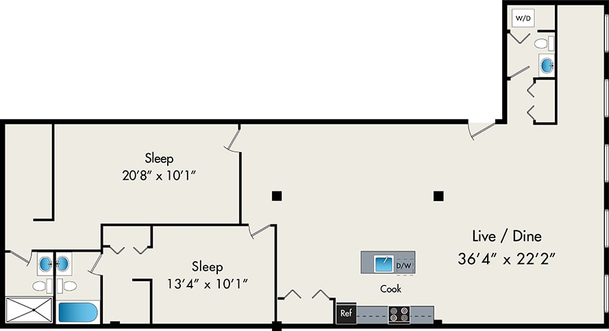 Floor Plan  Two-Bedroom Loft Floor Plan at 119 N Peoria St Chicago, IL 60607, opens a dialog.