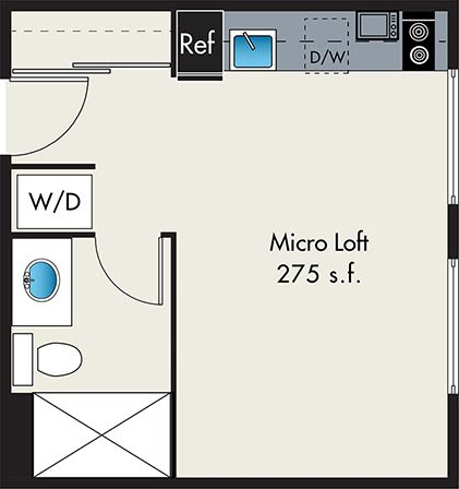 Floor Plan  Micro Loft at the Lofts at Gin Alley, Chicago, IL 60607, opens a dialog.